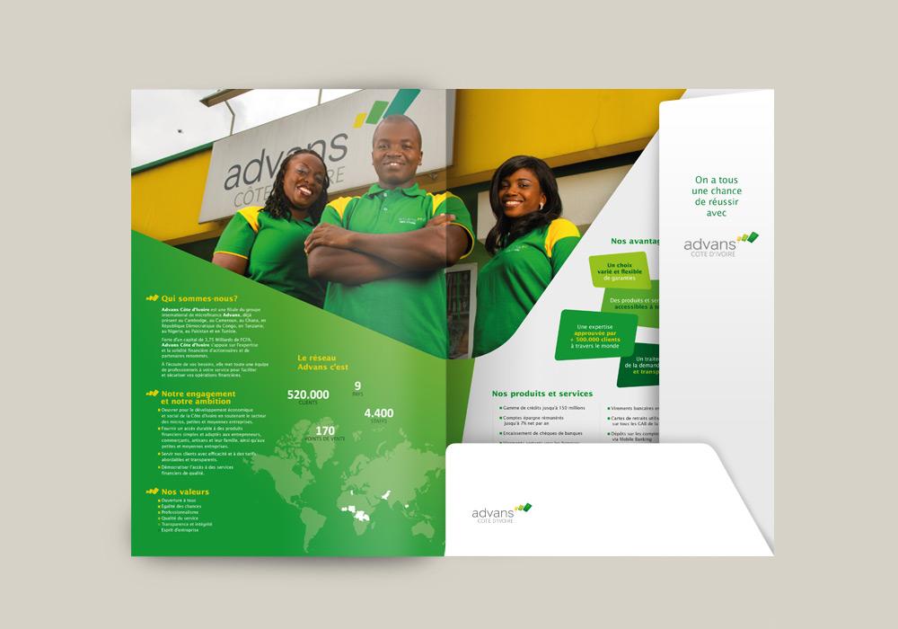 Edition création de pochette à rabats Advans Group