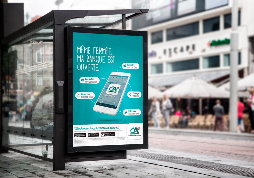 Simulation affiche abribus Crédit Agricole Alpes Provence