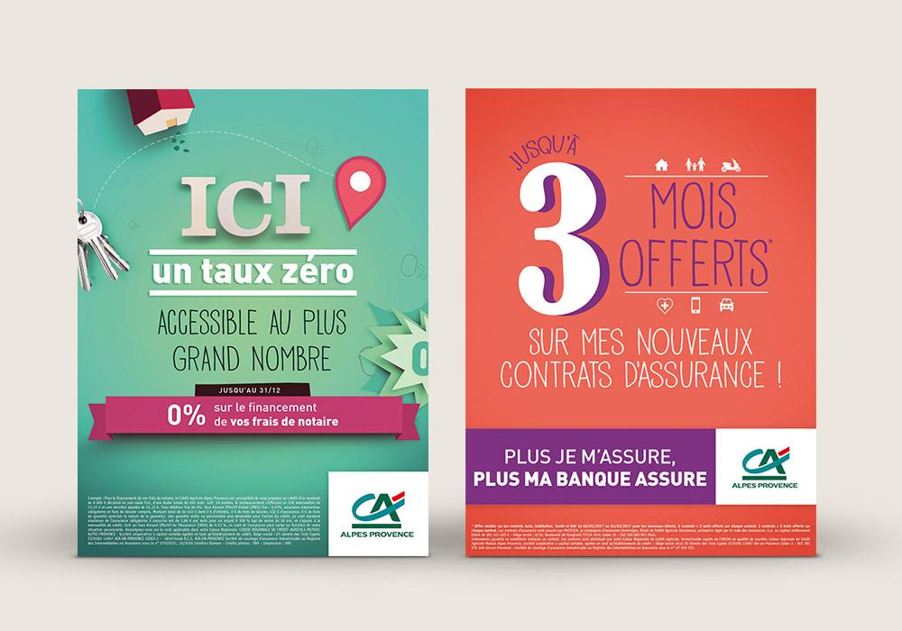 Affiches typographie Crédit Agricole Alpes Provence