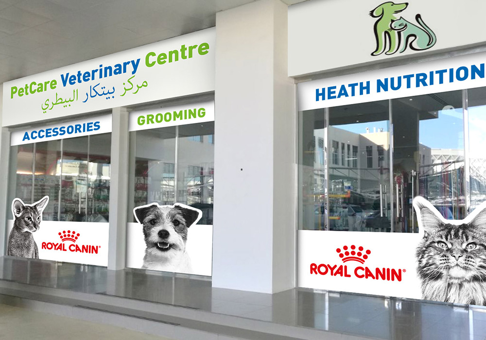 habillage vitrine de clinique vétérinaire Royal Canin