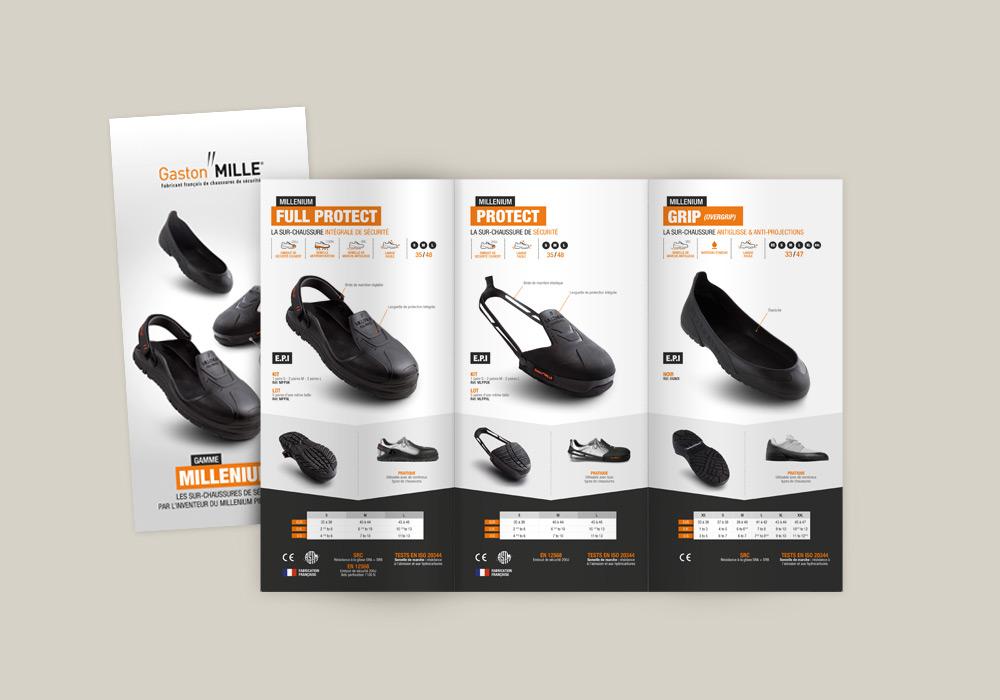 Dépliant 3 volets gamme sur chaussure de sécurité Millenium Gaston Mille