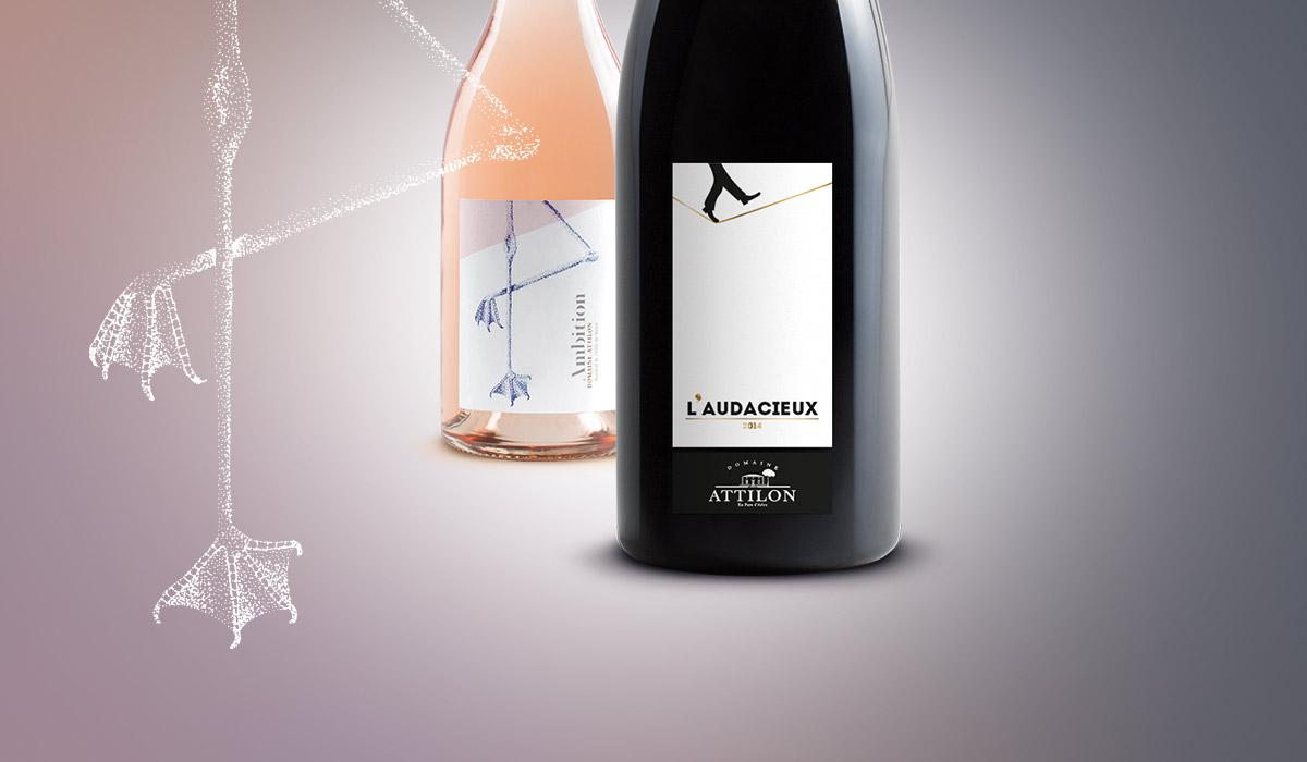 Packaging création étiquette vin Domaine Attilon