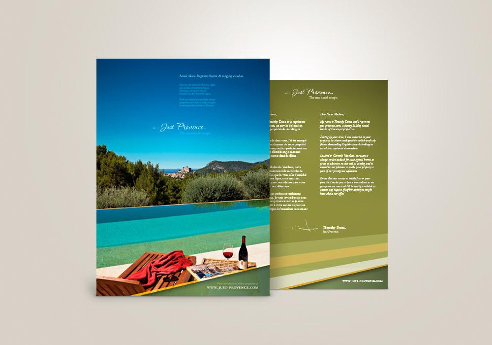 Annonce presse et flyer Just Provence