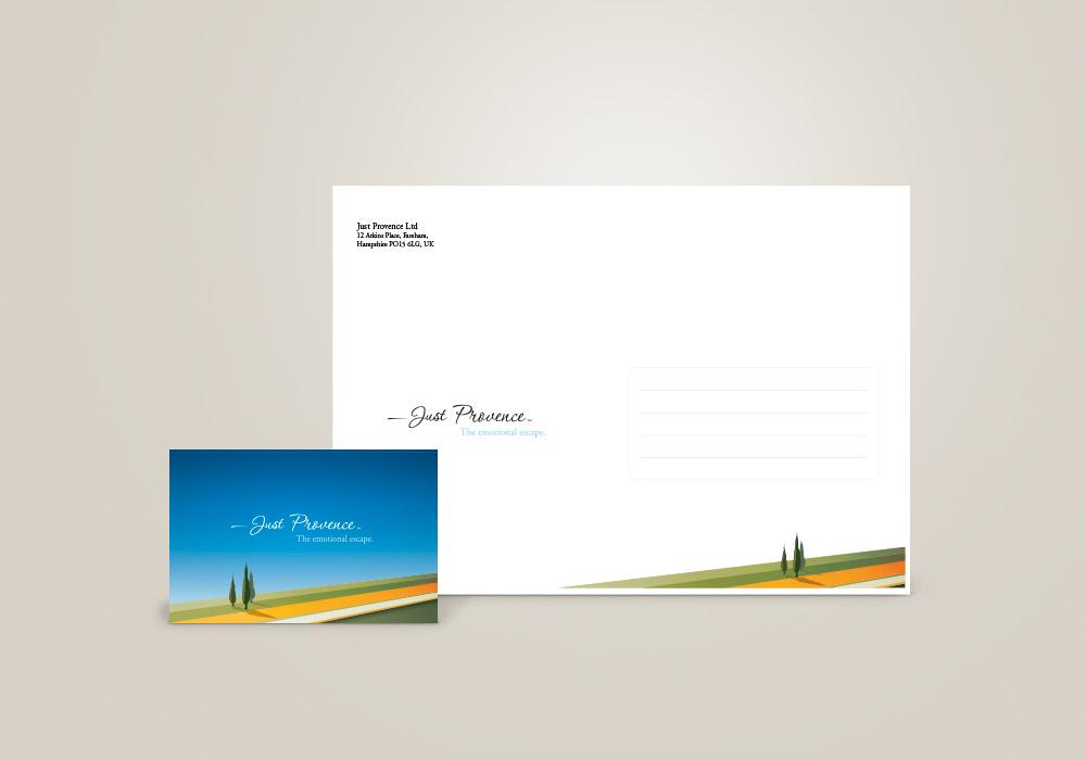 Carte de visite et enveloppe Just Provence