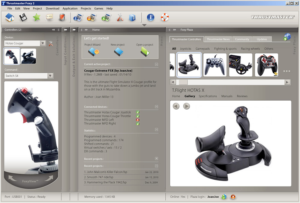 Interface application Thrustmaster