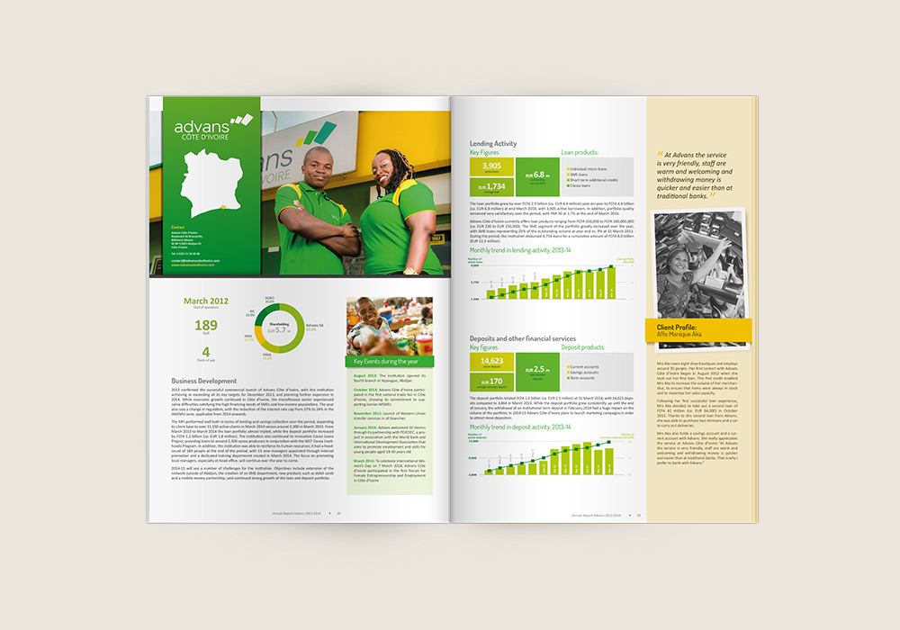 Edition brochure rapport annuel Advans Group