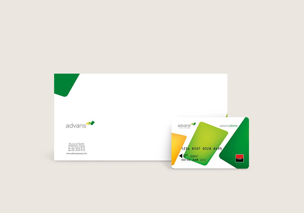 Charte graphique chéquier et carte bancaire Advans Côte d'Ivoire