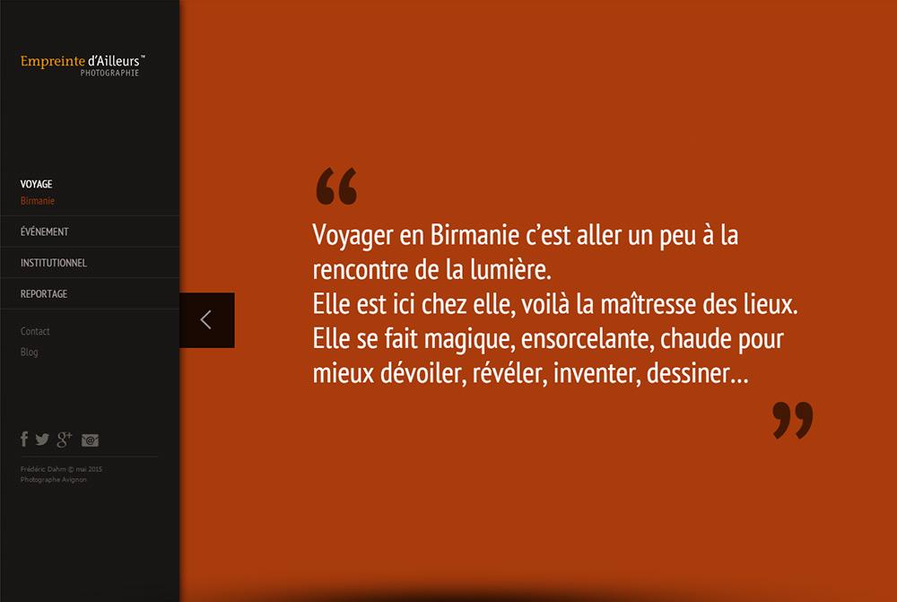 Page citation Birmanie Site Internet Empreinte d'Ailleurs
