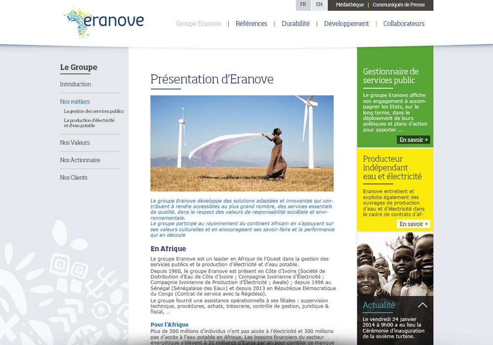 Page de site Internet Eranove