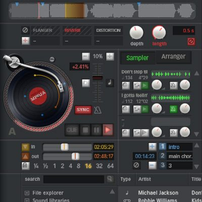 interface graphique platine mixage dj