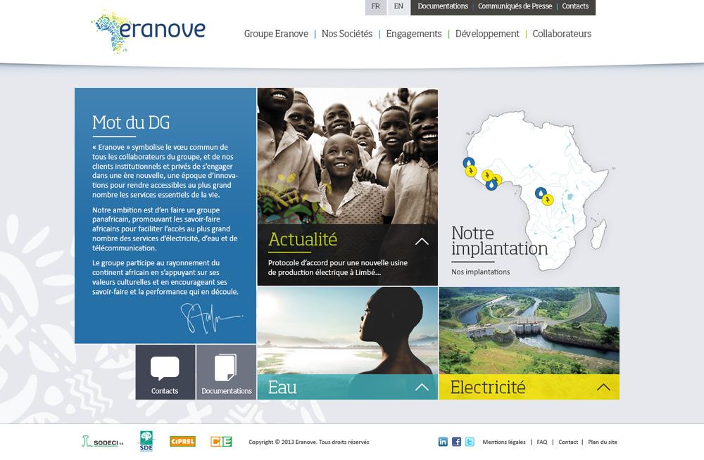 Interface graphique site web Eranove