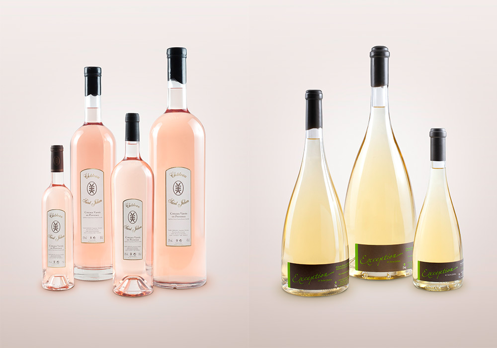 photographie packshot gamme de vins Domaine Saint-Julien