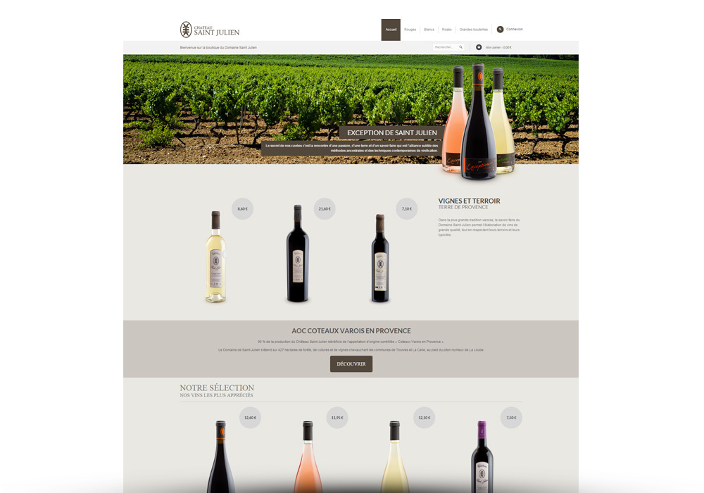 Interface site e-commerce Domaine Saint Julien