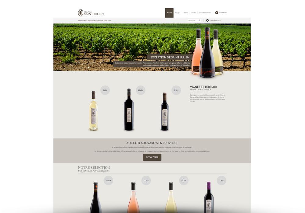 Interface site e-commerce Domaine Saint Julien