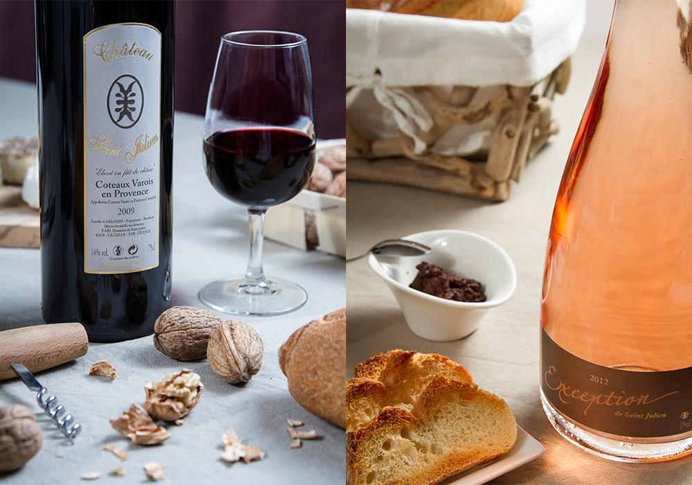 Mise en scène photographie de vin Domaine Saint Julien