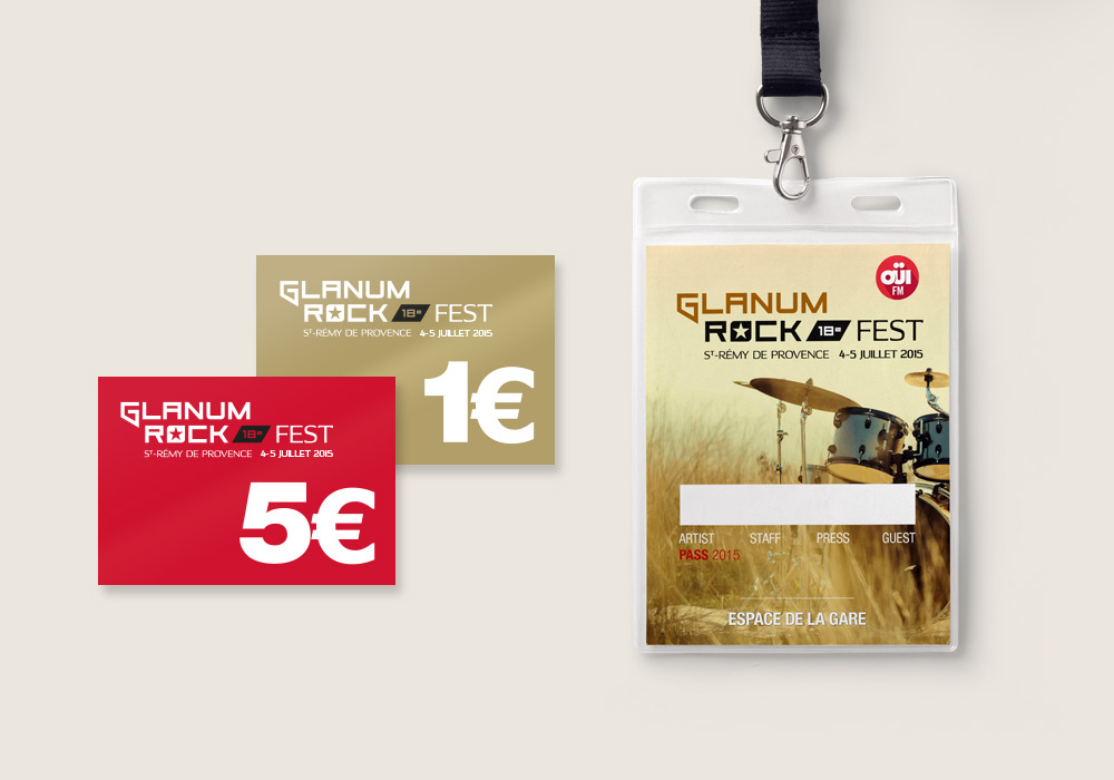 Edition monnaie et badge d'identification Glanum Rock