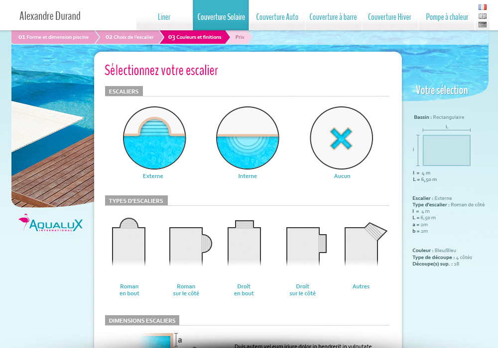Application web configurateur sur-mesure Aqualux