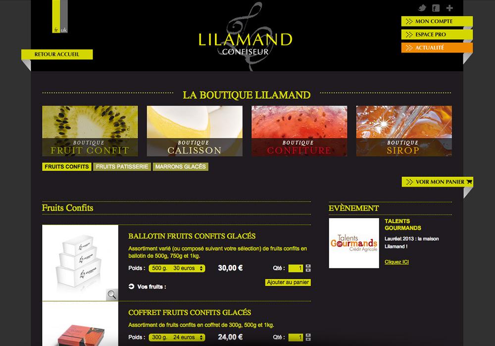 Page produits boutique en ligne confiserie Lilamand