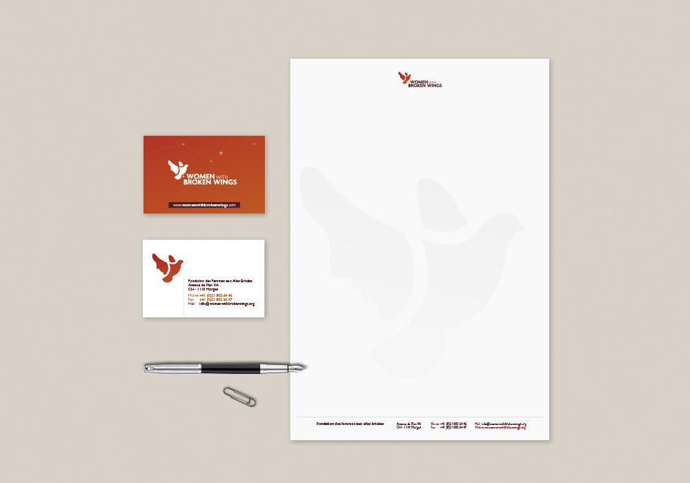 charte graphique carte de visite et tête de lettre Women with Broken Wings