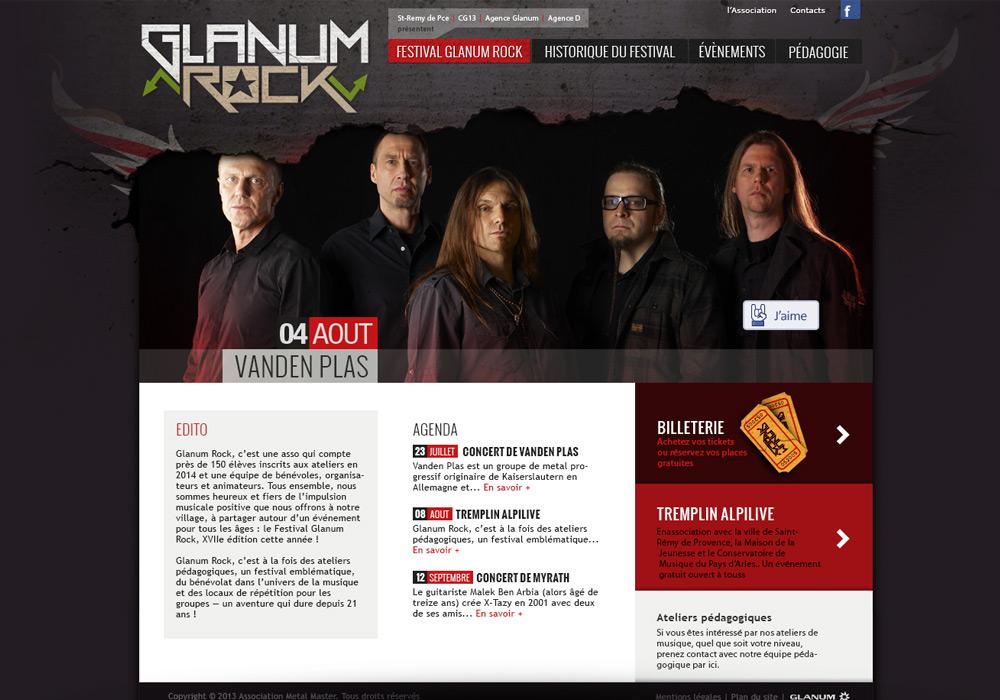 Interface graphique site Web Glanum Rock