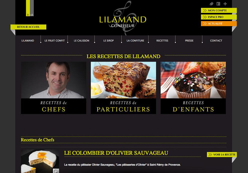 accueil page recettes site Internet confiserie Lilamand
