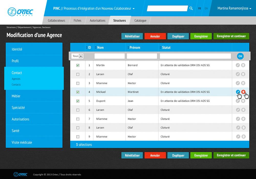 page application web Ortec
