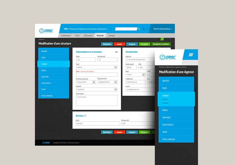 Interface applicaton responsive Ortec