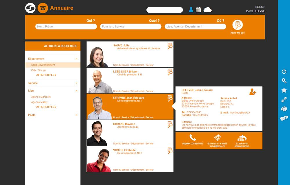 Design graphique annuaire portail Web Ortec