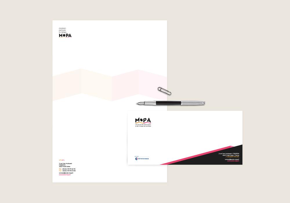 tête de lettre et carte de correspondance MOPA