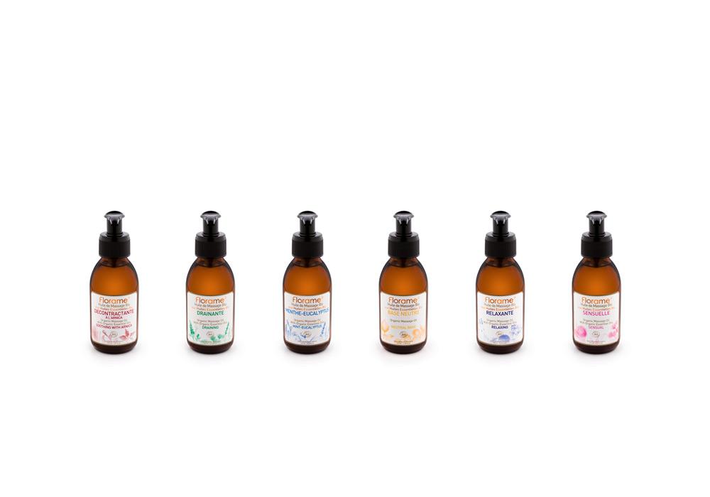 Packshot flacons huile de massage Florame