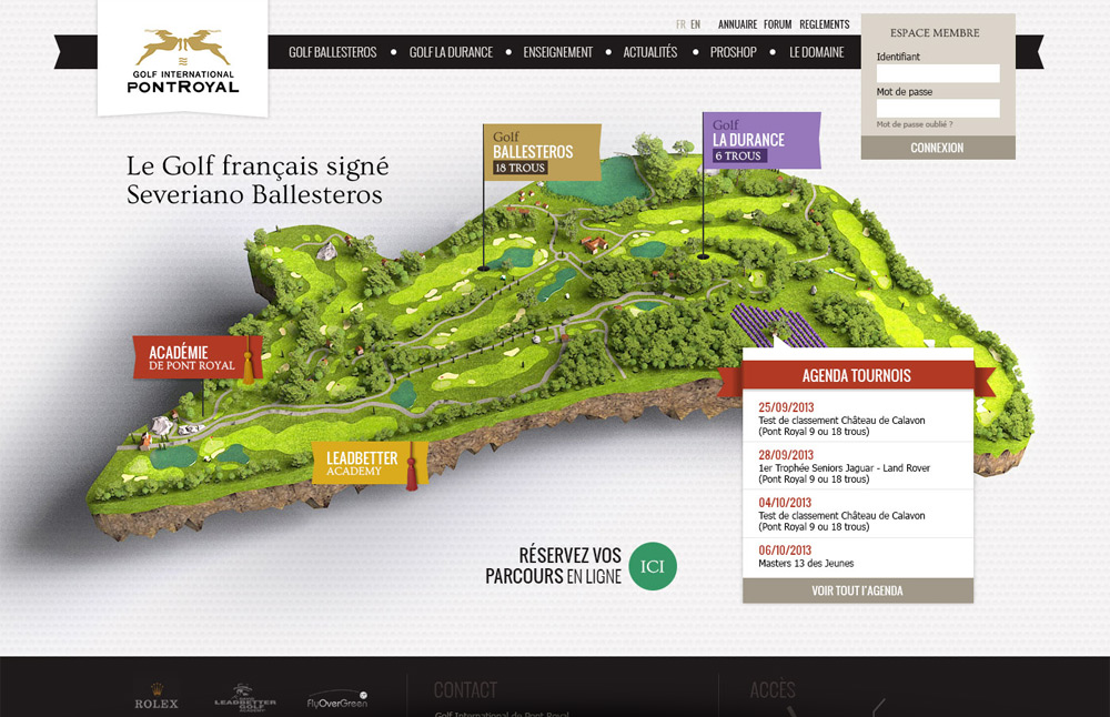 page d'accueil site web et illustration Golf de Pont Royal