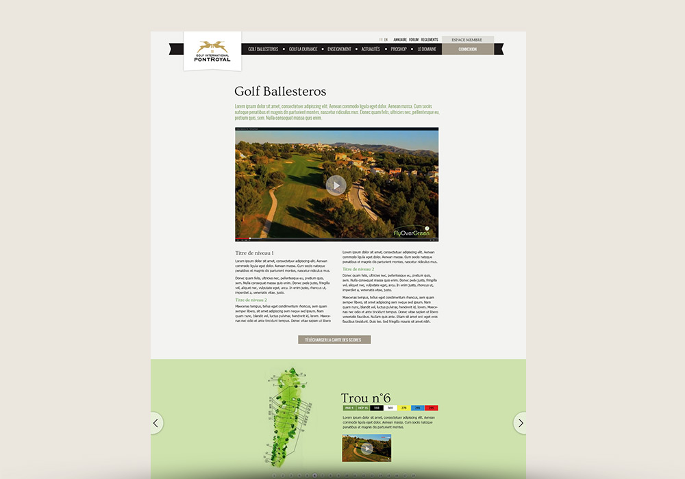 Page Web site Internet Golf de Pont Royal