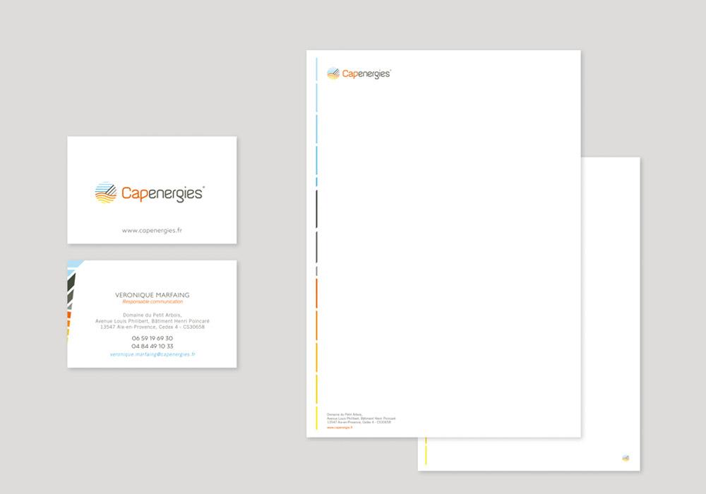 charte graphique Capenergies carte de visite et tête de lettre