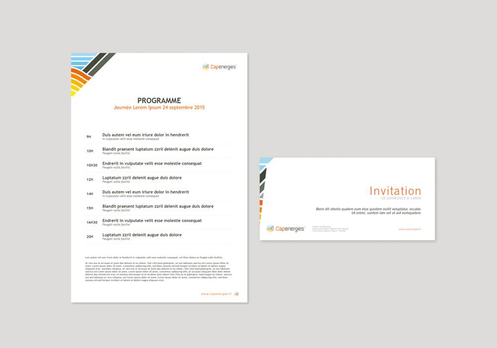 Charte graphique tête de lettre et carton d'invitation Capenergies