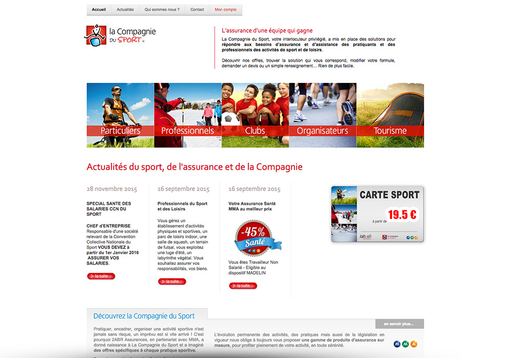 Interface graphique site Internet Compagnie du Sport