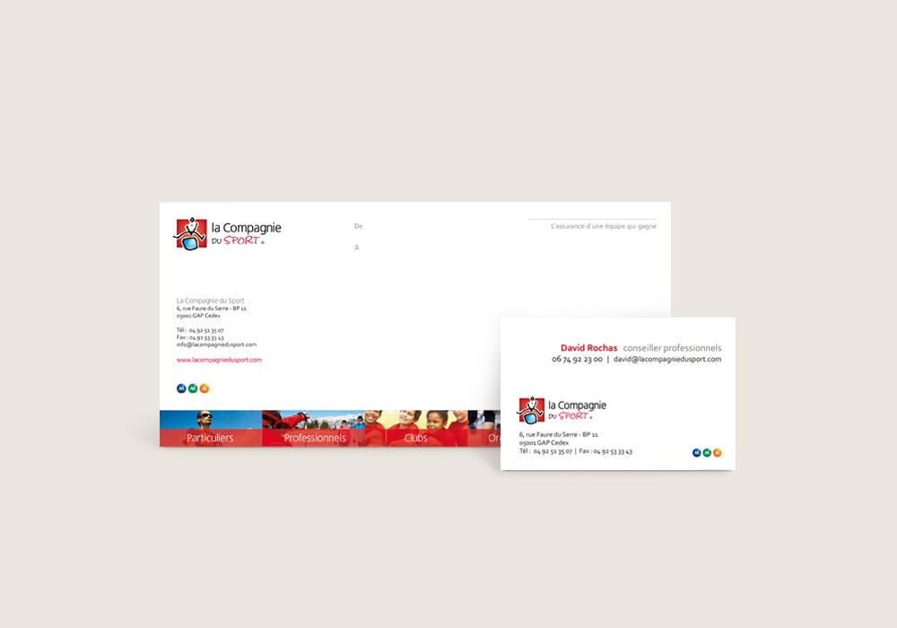Carte de correspondance et carte de visite Compagnie du Sport