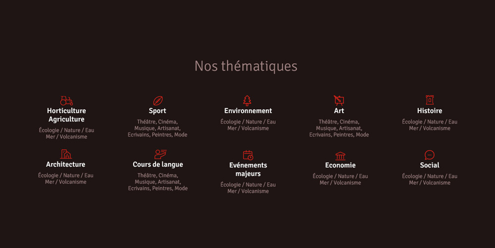 menu des thématiques de voyage - site Web Envol Espace