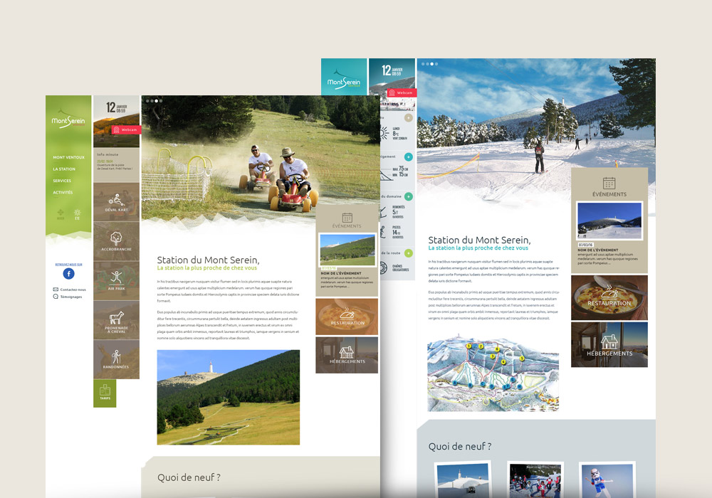 interfaces graphiques site Web Station du Mont Serein