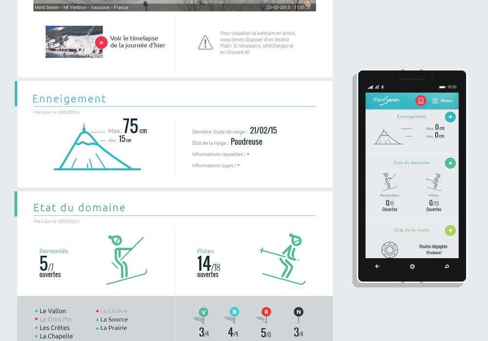 Interface hiver responsive design Station du Mont Serein
