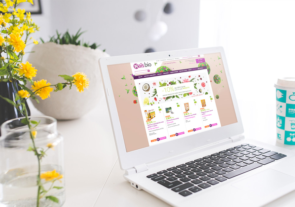 Interface graphique accueil site Internet Naïs Bio
