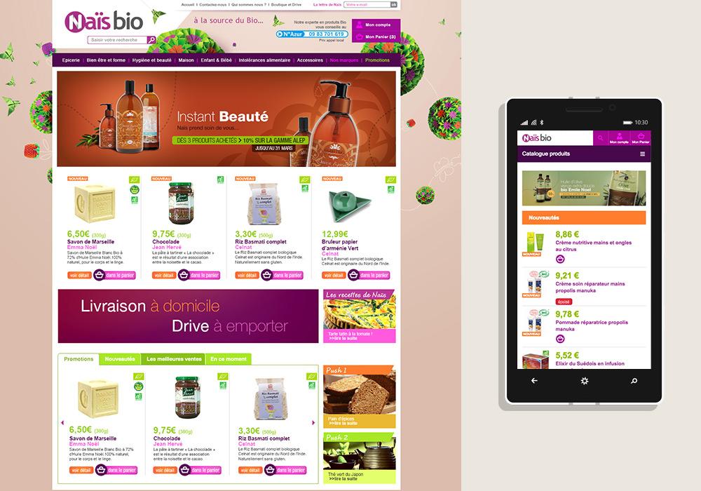 Interface graphique boutique en ligne Naïs Bio