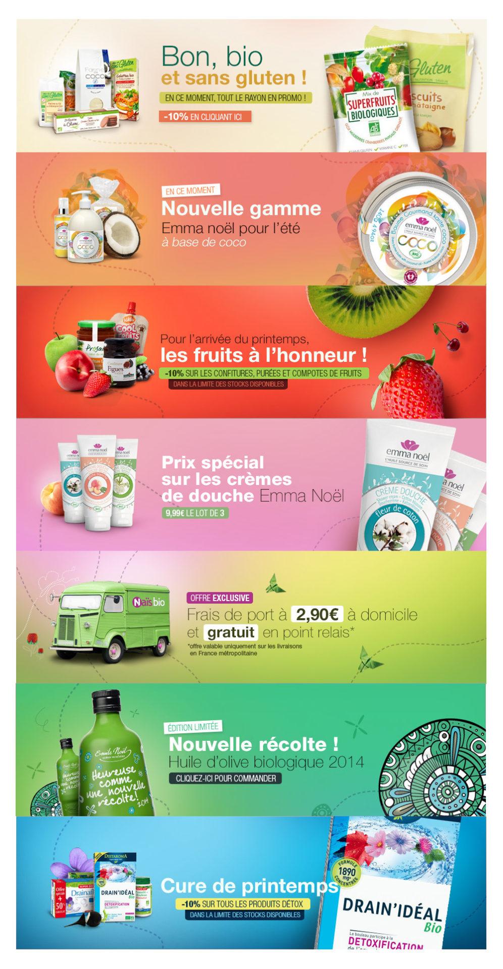 bannières promotionnelles boutique en ligne Naïs Bio