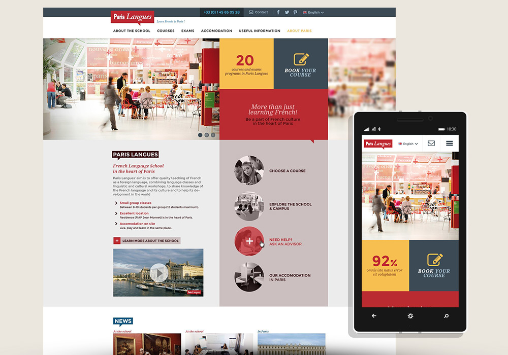 Interface responsive design Paris Langues