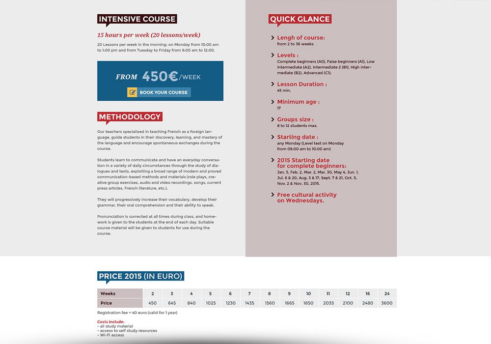 Détail programme cours site Web Paris Langues