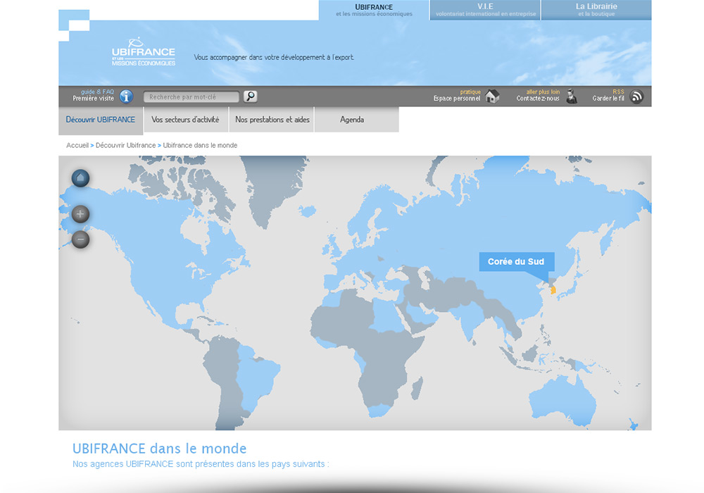 interface Web page carte site Internet Ubifrance