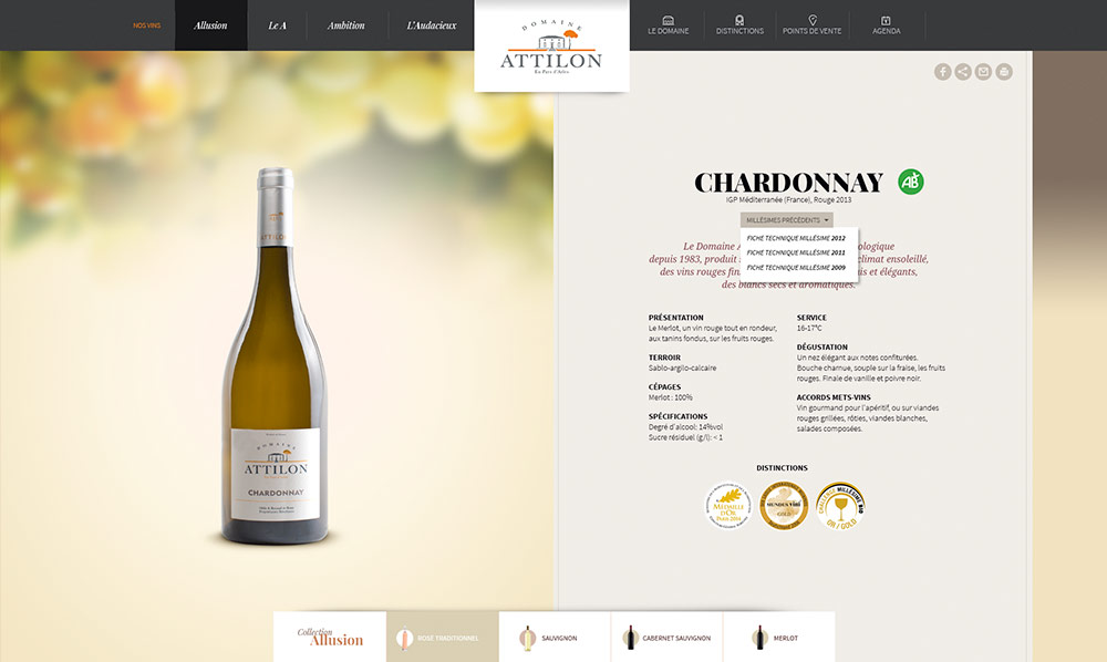 interface web graphique page produit Vin blanc Attilon