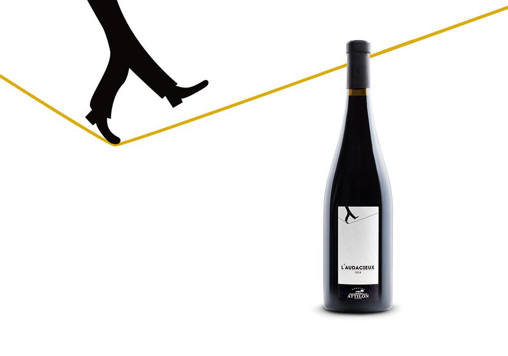 packaging étiquette de vin gamme l'Audacieux Attilon