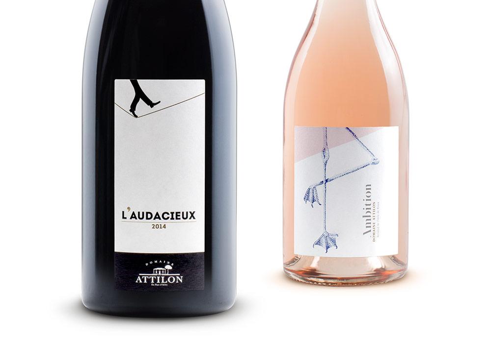 étiquettes vin Attilon gammes l'Audacieux et Ambition