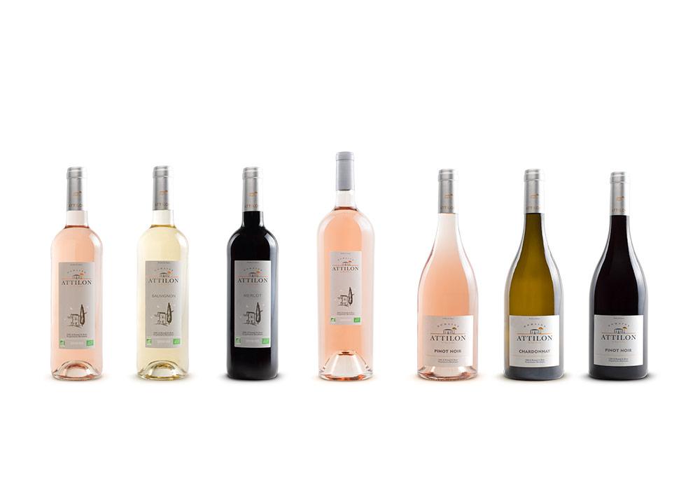 photographie packshot collection de bouteilles de vin domaine Attilon