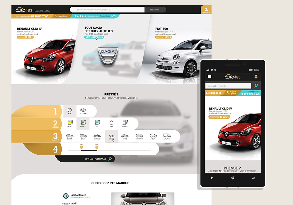 AutoIES Web Interface Responsive Design Home